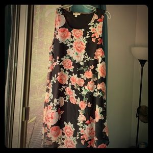 NWOT black,pink and ivory floral dress.